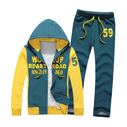 M-LORD (TM) Mens Casual Fleece Lined Warm Hooded Hoodie + Pants Zip Up Tracksuit Set Blue l