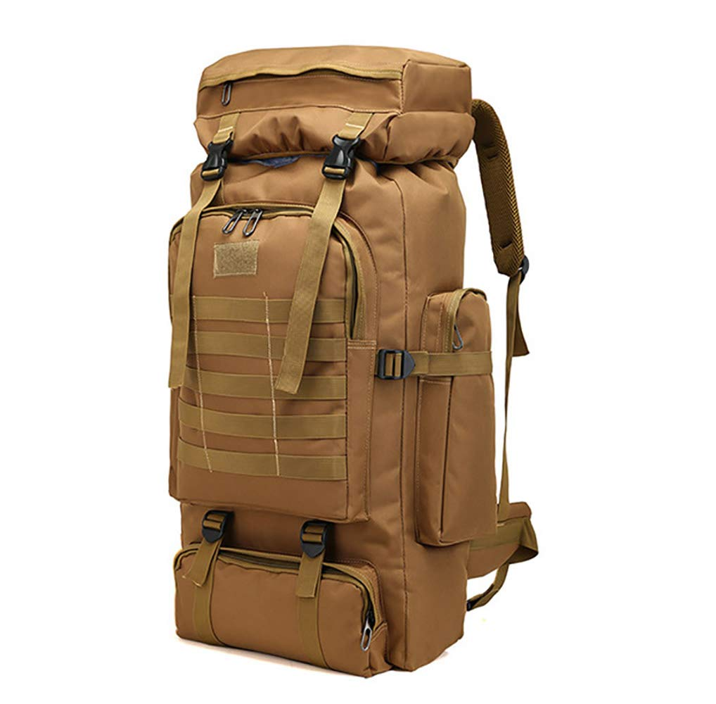 WintMing 70L Large Camping Hiking Backpack Tactical Military Molle Rucksack for Trekking Traveling Oxford Waterproof Mountaineering Pack Large Daypack for Men (Khaki) by WintMing