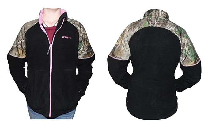 af7e356c725cc Realtree Habit Womens Fleece Jacket Black Xtra Camo and Pink Accents FJ9004  (S)