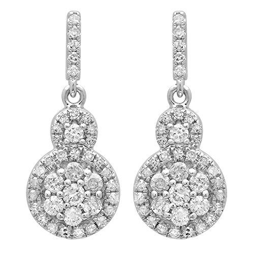 0.50 Carat (ctw) 14K White Gold Round Cut White Diamond Ladies Cluster Style Drop Earrings 1/2 CT by DazzlingRock Collection