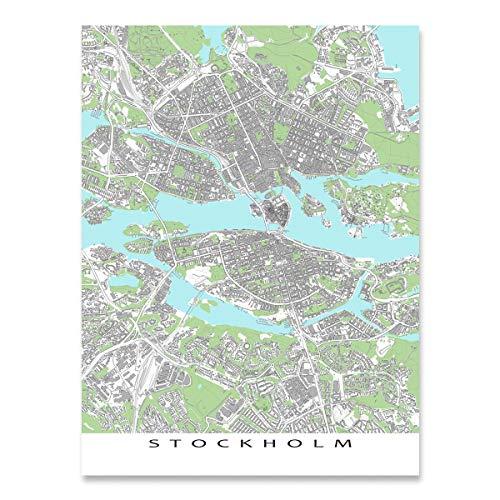 - Stockholm Map Print, Sweden, City Street Art, Europe