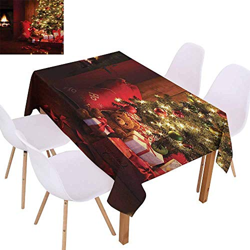 UHOO2018 Christmas,Picnic Tablecloth,Xmas Scene with Decorated Luminous Tree and Gifts by The Fireplace Artful Image,Great for Holiday Dinner, Wedding & More,Red ()