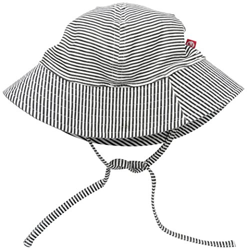 Zutano Baby Candy Stripe Sunhat, Black, 6M (3-6 Months)