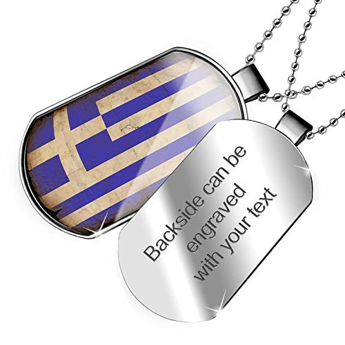 (NEONBLOND Personalized Name Engraved Greece Flag with a Vintage Look Dogtag)