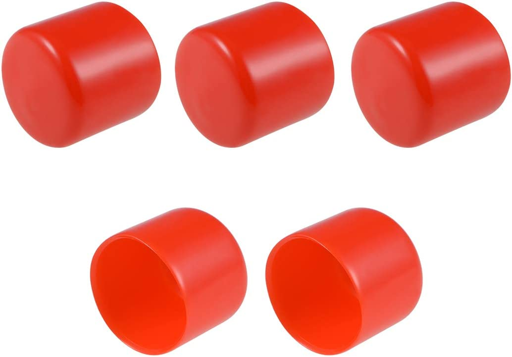 uxcell Rubber End Caps 34mm ID Round End Cap Cover Flexible Screw Thread Protectors Red 5pcs