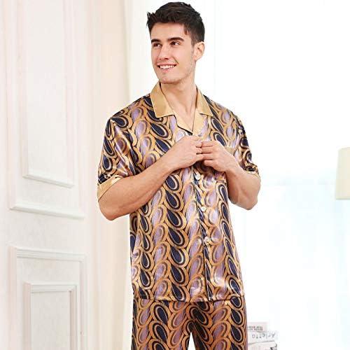 パジャマ CHJMJP セクシーなフェイクシルクメンズパジャマファッションプリントアイスシルクパジャマ男性夏の半袖パジャマパンツセット (Color : ゴールド, Size : L)