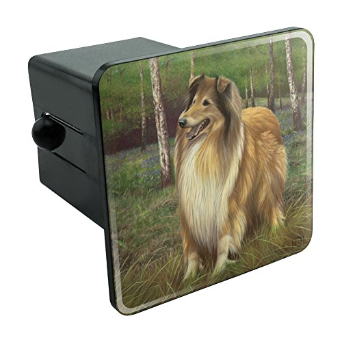 Graphics and More Collie Dog in the Woods Tow Trailer Hitch Cover Plug Insert 2