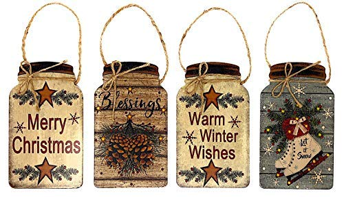 Plaque Holiday Wall - Set of 4 Christmas Holiday Wall Plaques Sign for Wall Door Decoration Small Inspirational Country Decor Mason Jar 8