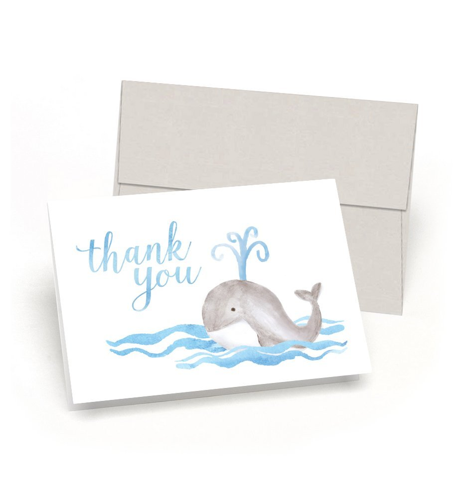 Whale Thank You Baby Shower Thank You Cards Set of 10 Cards Envelopes – Watercolor Baby Whale – By Palmer Street Press Blue