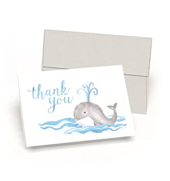 Whale Thank You! Baby Shower Thank You Cards (Set Of 10 Cards + Envelopes