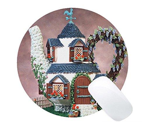 Mousepad Teapot Shape Gingerbread House Print Non-Slip Round Mouse Mat