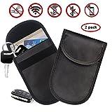 Treedeng faraday bag key fob, Car Key Signal Blocker Case, Keyless Entry Fob Guard Signal Blocking Pouch Bag, Antitheft Lock Devices (2 Pack, Black)
