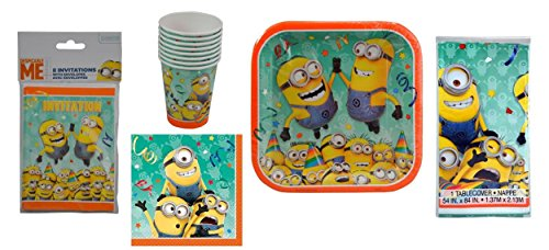 (Minions Party Supplies 8 Ct Each with 1 Plastic Tablecover ( 8 Invitations, 8 Napkins, 8 x 9
