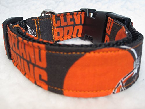 "1"" & 1.5"" Wide, Cleveland Browns Side Release Dog Collar (1"" Wide, XLarge 24"" to 30"" inch, Adjustable)"