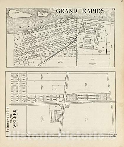 - Historic 1912 Map | an Atlas of Wood County, Ohio | Grand Rapids; Unincorporated Village of Welker 44in x 53in