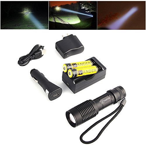 LED Flashlight Vander XM-L T6 SCE Zoomable Focus 2000LM Quickly Charge Flashlight Torch+2 x 18650 6000mAh Lithium Battery+AC110V Charger+1 x DC12V-24V Car Charger