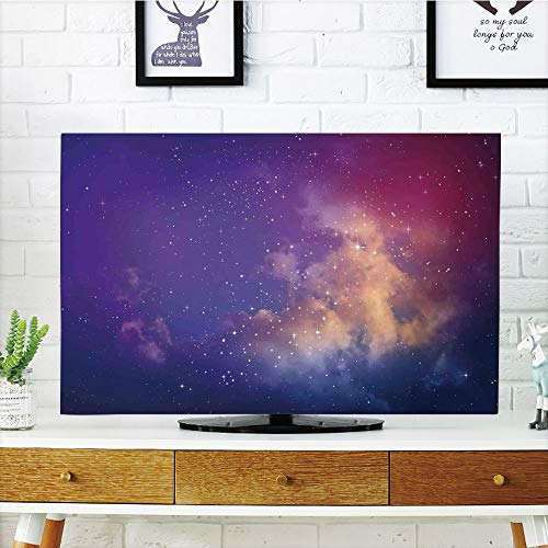 iPrint LCD TV Cover Lovely,Space Decorations,Stars and Cloud in The Night Sky Galaxy Celestial Zone Like Mily Way Cosmos Print,Purple Cream,Diversified Design Compatible 50