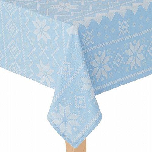 St Nicholas Square Woven Blue Fair Aisle Snowflake Tablecloth Table Cloth 60x102
