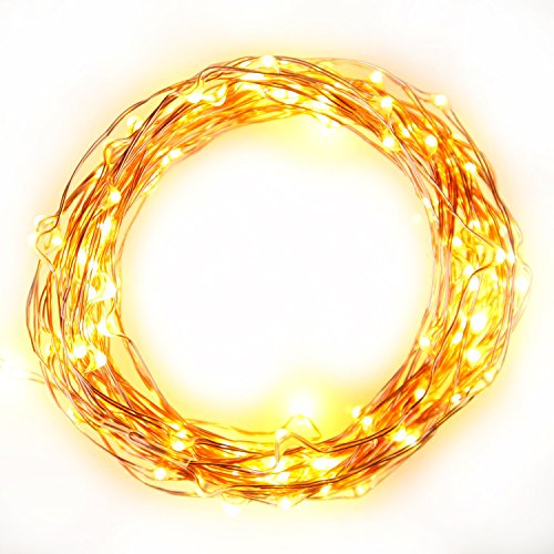 The Original Starry String Lights, Warm White LED Lights on Flexible Copper Wire, Waterproof - 120 LEDs, 20ft Strand