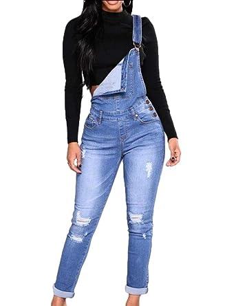 4b37cc3da2c Amazon.com  Womens Vintage Denim Jumpsuit Straight Leg Bib Overalls   Clothing
