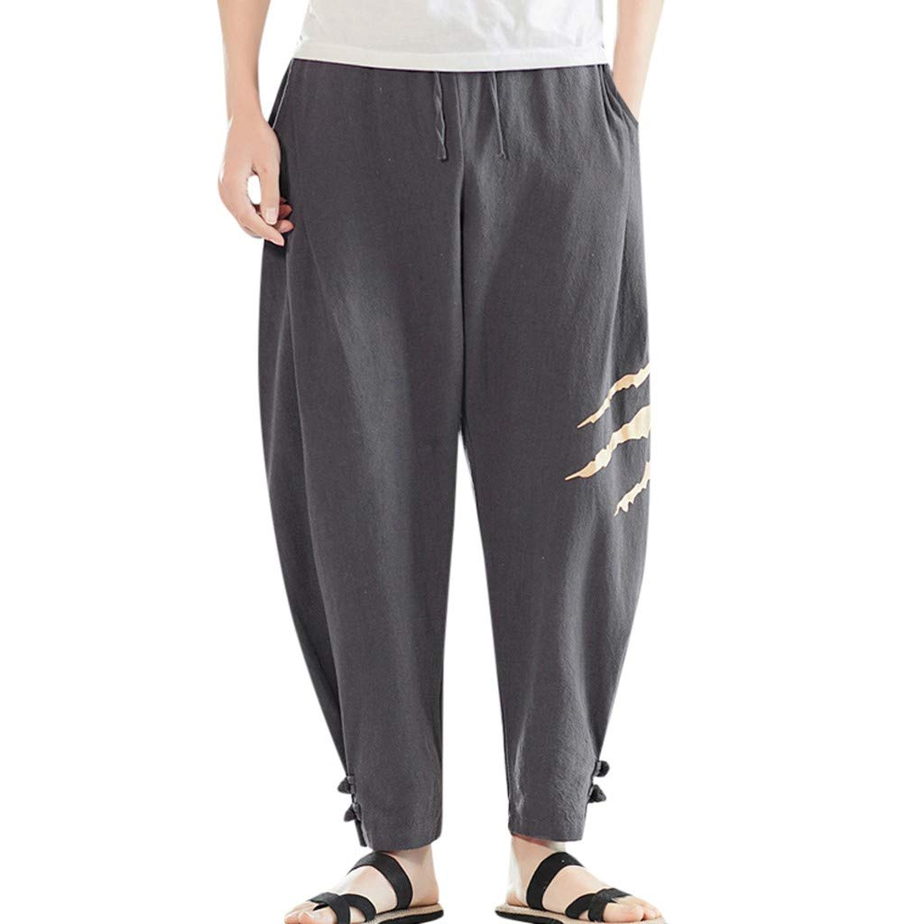 Allywit Men's Printed Claw Graphic Baggy Harem Capri Loose Fit Linen Pants with Pockets Big and Tall Dark Gray by Allywit-Pants (Image #1)