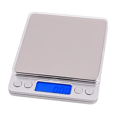 ZHANGYUGE 500G/0.01g Balanzas electrónicas Digitales portátil Mini Cocina Alimentos Oro Joyería Peso Balanza