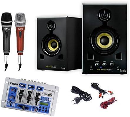 Karaoke Set 705 120 W Punta altavoz, 5 canal Licuadora, verdrahteten Micrófono par: Amazon.es: Electrónica