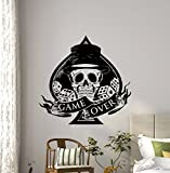 Game Over Poker Wall Decal Casino Play Room Vinyl Sticker Holdem Cards Game Gaming Nursery Wall Art Teen Kids Room Wall Decor Removable Waterproof Mural 57i