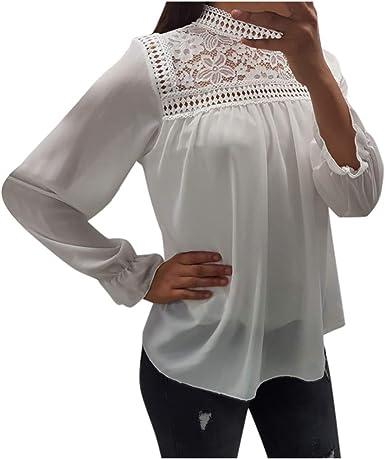 beautyjourney Blusa de Gasa Ahuecada para Mujer Camisa de Manga Larga de Encaje de Cuello Alto de Color Sólido Sudaderas Flojo Casual Top: Amazon.es: Ropa y accesorios