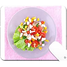 Luxlady Gaming Mousepad 9.25in X 7.25in IMAGE: 34806313 Appetizing fish salad with vegetables on plate isolated on white