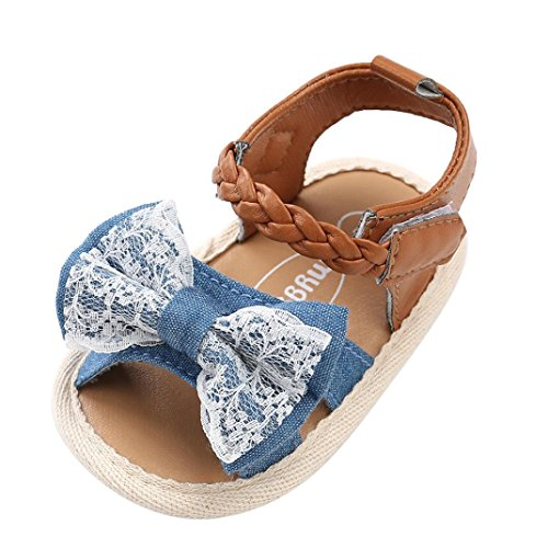 Goodtrade8 Newborn Infant Toddler Baby Girl Sandals Bow Knot First Walker Strappy Crib Shoes Slipper Sneaker (6-12 Months, Blue)
