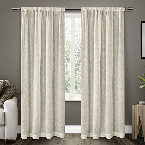 Exclusive Home Belgian Textured Linen Look Jacquard Sheer Window Curtain Panel Pair with Rod Pocket, Snowflake, 50x96 (Cotton Poly Sheer)