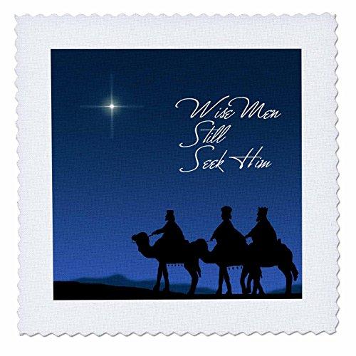 3dRose qs_30754_10 Wise Men Still Seek Him Magi Following The Christmas Star-Quilt Square, 25 By 25-Inch (Wise Men Still Seek Him T Shirt)