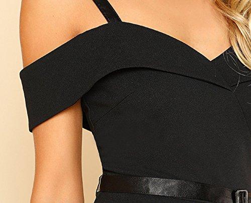 Mode Noir Élégante Courtes Ligne Manches Soirée Courte Robe L Taille De Estivale xnXzqFU