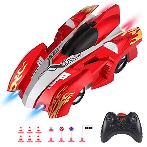 Remote Control Cars for Boys Race Car Toys,RC Cars Wall Climbing, Rechargeable High Speed Vehicle with LED Lights, Included 3 x AA Batteries and Street Signs Playset(Red)