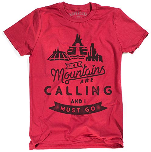 Superluxe Clothing Mens/Unisex Space Splash Big Thunder Mountains are Calling and I Must Go T-Shirt, Red, Large