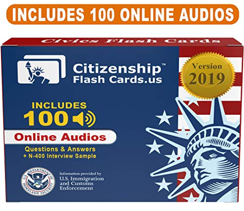 US Citizenship test Civics Flash Cards for the Naturalization Exam 2019 |  Includes Online Audios with all official 100 USCIS Questions and Answers |