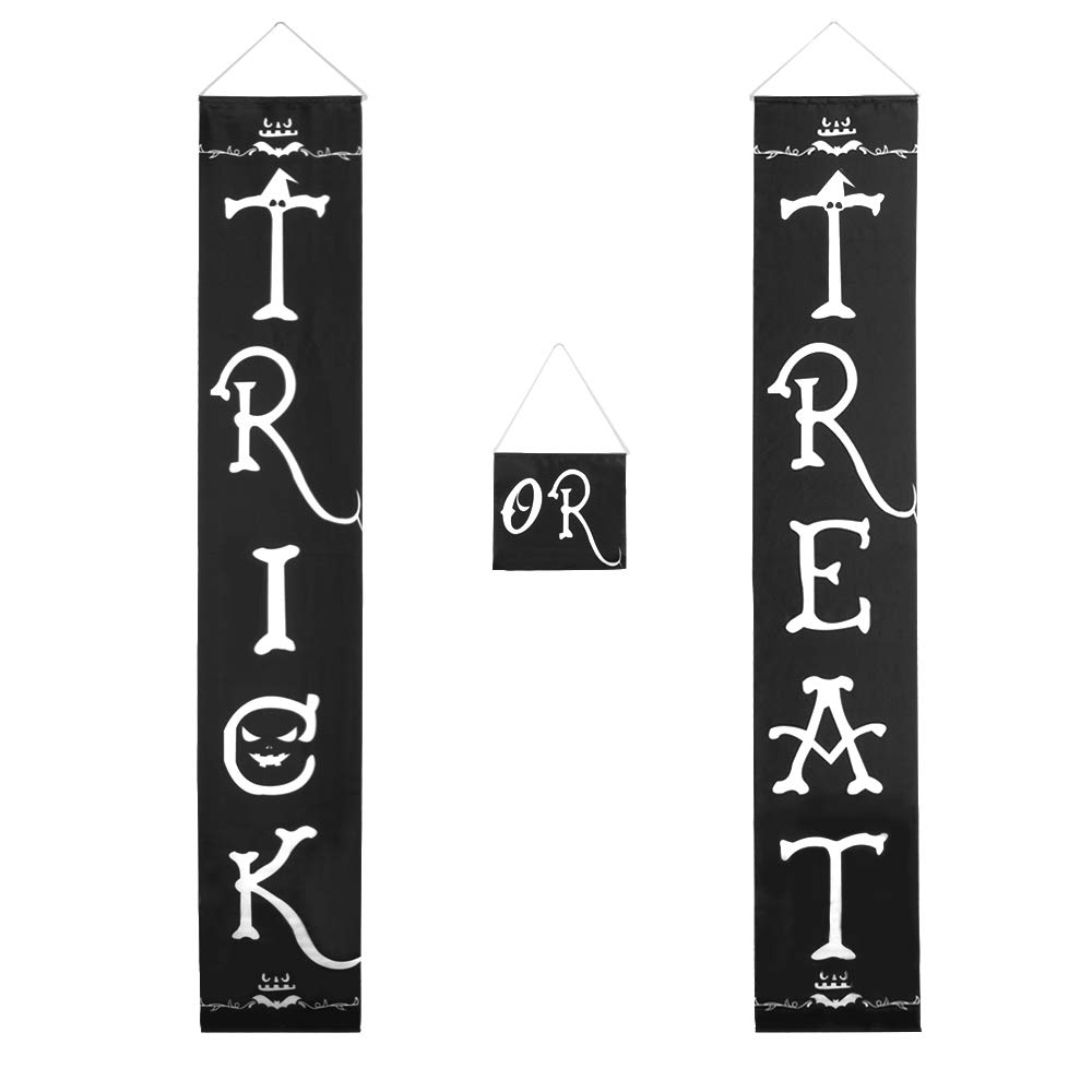 Halloween Outdoor Decoration - Trick or Treat Banner for Front Door Display, Durable Home Decor with Pumpkin, Bat, Bones, and Witch Hat Design, Easy to Use Ready to Hang for Gate, Garden, Home Party Vivreal