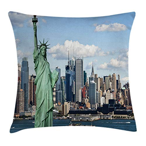Ambesonne New York Throw Pillow Cushion Cover, Liberty in NYC Harbor Urban City Print Famous Cultural Landmark Picture, Decorative Square Accent Pillow Case, 16