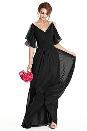 866cd36d37e2c5 Bridesmaid Dress V Neck Cap Sleeve Chiffon Long Formal Modest Women Prom  Party Gown Black 2