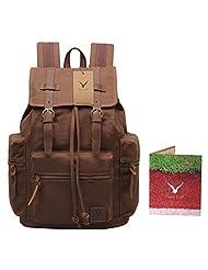 Hynes Eagle Unisex's Retro Canvas School Backpack (Coffee)