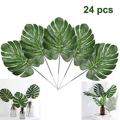 Artiflr 24 PCS Tropical Plant Palm Leaves Faux Palm Leaves with Stems Artificial Tropical Plant Imitation Safari Leaves Hawaiian Luau Party Suppliers Decorations]()