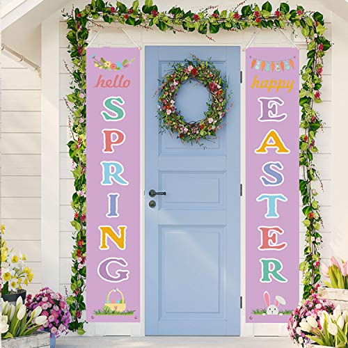 Funnlot Easter Porch Sign Easter Hanging Welcome Signs Easter Decorations Sets WELCOME EASTER Banners for Home Front Doors Indoors Outdoors Walls Salon Porch Party Favor Ornament (Purple)