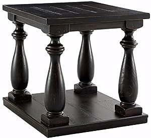 Ashley Furniture Signature Design - Mallacar Square End Table - 1 Fixed Lower Shelf - Vintage Casual - Black
