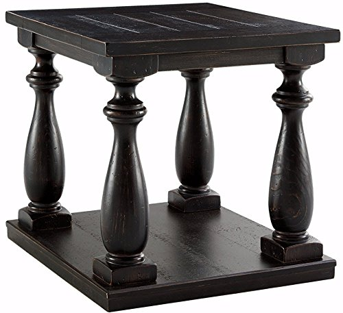 Ashley Furniture Signature Design - Mallacar Square End Table - 1 Fixed Lower Shelf - Vintage Casual - Black
