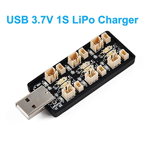 1S LiPo Battery USB Charger 3.7V/4.20V 6 Channel 1S LiPo Charger Tiny Whoop Blade Inductrix Micro JST 1.25 JST-PH 2.0 mCX mCPX Connectors