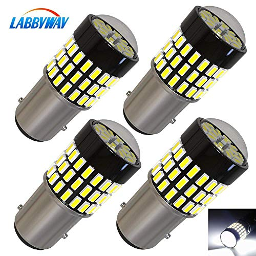 LABBYWAY 4 Pcs Super Bright 900 Lumens 1157 3014 78-EX Chipsets 1157 2057 2357 7528 LED Bulbs Used For Turn Signal Lights,Tail Lights,Xenon White ()