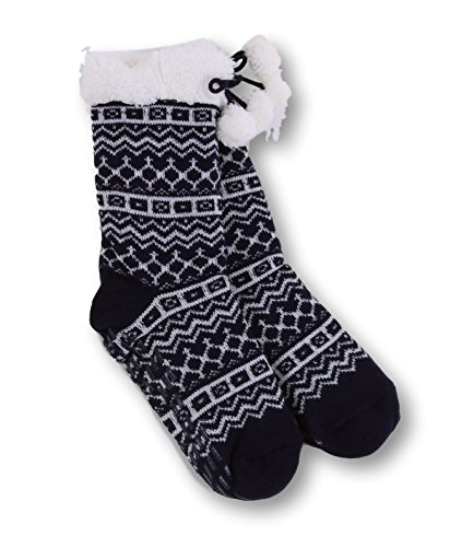 Pembrook Knit Slipper Socks - Soft and Warm Faux Shearling Lining and Non Skid Tread Sole - Timeless Navy Snowflake Design - Great Plush Slip On House Slippers For Adults, Women, Girls (Lining Shearling)