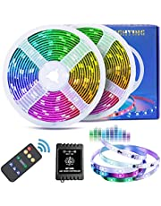 Dream Color LED Strip Lights with Music Sync-Chase Effect, Fityou 32.8Ft (2x5m) 5050 SMD 300 LED RGB Rope Light, Splash Proof Flexible String Lights with RF Remote, Music Modes & Non-Music Modes