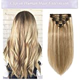 s-noilite Clip in Human Hair Extensions 100% Real Remy Thick True Double Weft Full Head 8 Pieces 18 Clips Straight Silky (16 Inch - 130g,Light Golden Brown/Bleach Blonde (#12/613))